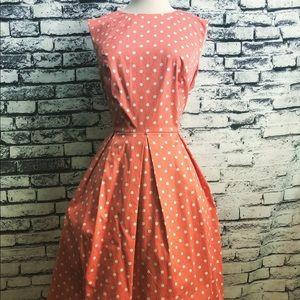 Liz Claiborne Coral White Polka Dot Pinup Dress